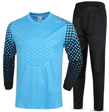 2017 New Men Soccer Jersey Set Training pant Suits Goalkeeper Jerseys survetement football Shirts Pants Uniforms adut EVA Sponge