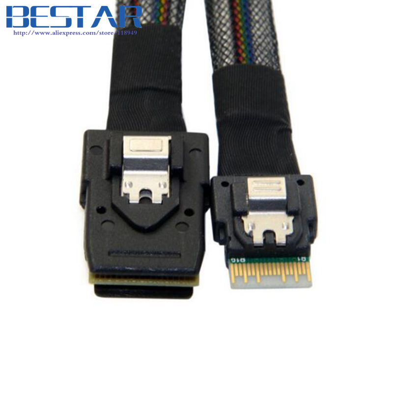 1.5FT 0.5M Slim Line SAS 4.0 SFF-8654 4i 38pin Host to Mini SAS 4i SFF-8087 36pin Target Cable 50cm 1 5ft 0 5m slim line sas 4 0 sff 8654 4i 38pin host to 4 sata 7pin target hard disk fanout raid connecting cable 50cm