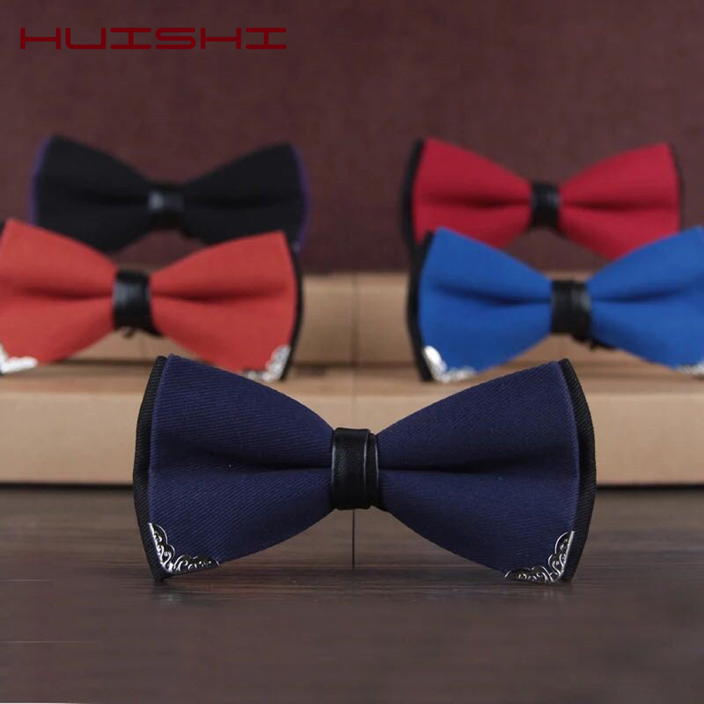 HUISHI Luxury Boutique Fashion Metal Bow Ties For Men Bowtie Women Wedding Party Butterfly Bowties Gravata Slim Blue Burgundy