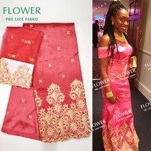 Модный стиль Африканский нигерийский Джордж кружевной ткани с сеткой кружева для женщин Блузка Шитье Индии гипюр с вышивкой материал Джордж