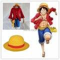 Frete grátis Cosplay One piece Trajes One piece Monkey D. Luffy cosplay Definir Camiseta + Calça + Chapéu + cinto amarelo HU096