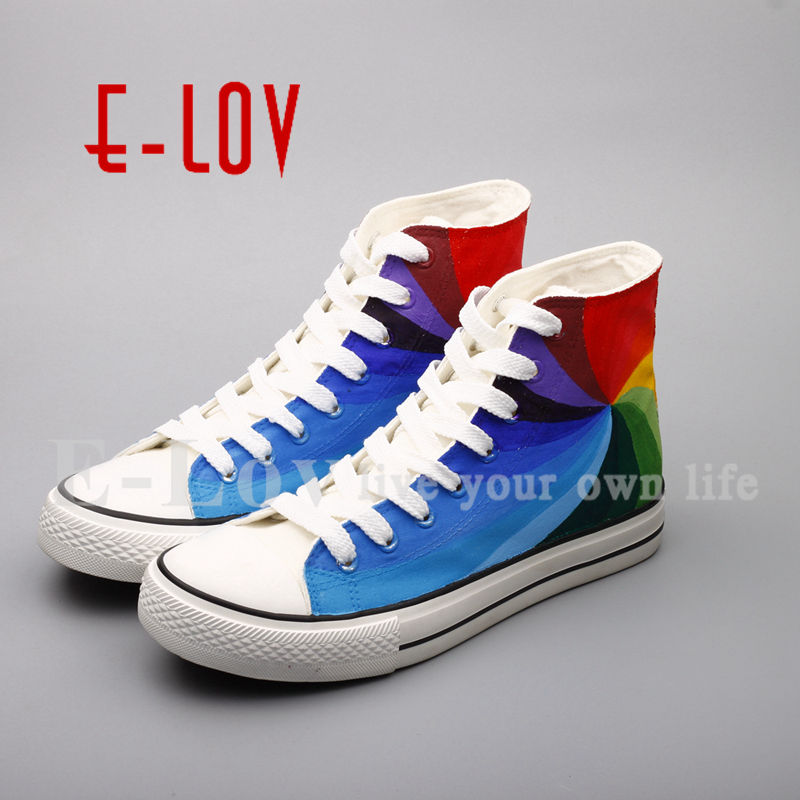 E-LOV Fashion Brand Hand Painted Colorful Canvas Shoes Graffiti Rainbow Casual Shoe Unisex Plus Size Drop Shipping e lov design hand painted couples lovers canvas shoes custom women flats casual shoe espadrilles graffiti leo horoscope