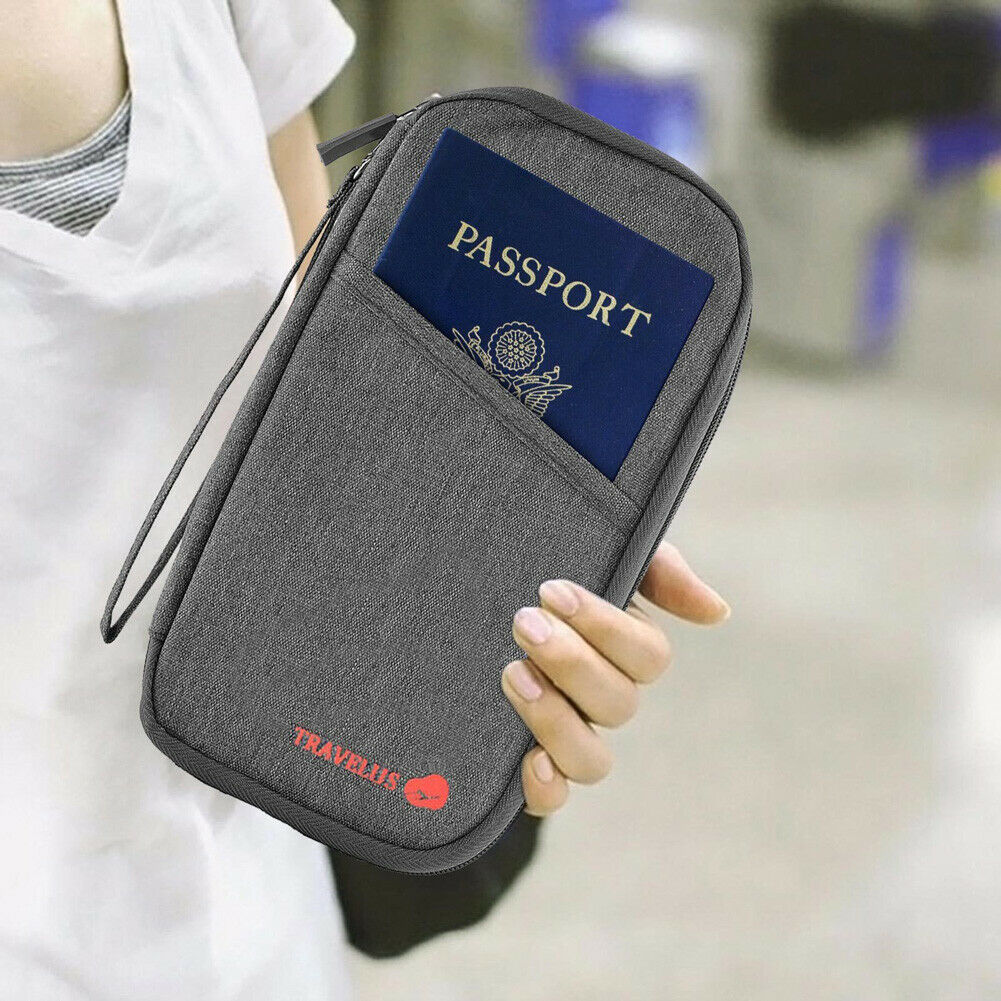 Leisure Travel Passport Wallet Solid Color Waterproof Oxford Cloth ID Card Storage Purse Multi-function Clutch