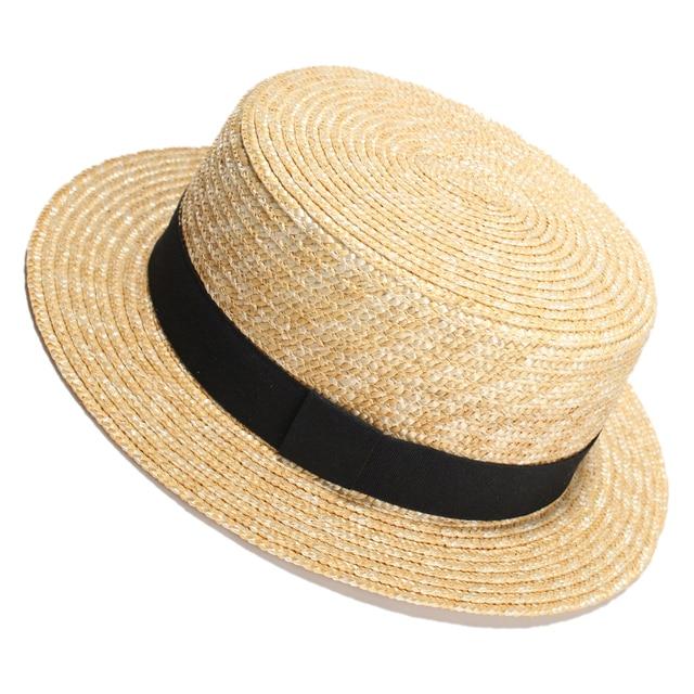9ae05dcd6b 2017 Mulheres de Verão Chapéus De Palha Flat Top Homens Velejador Chapeu  Feminino Sol Chapéu Panamá