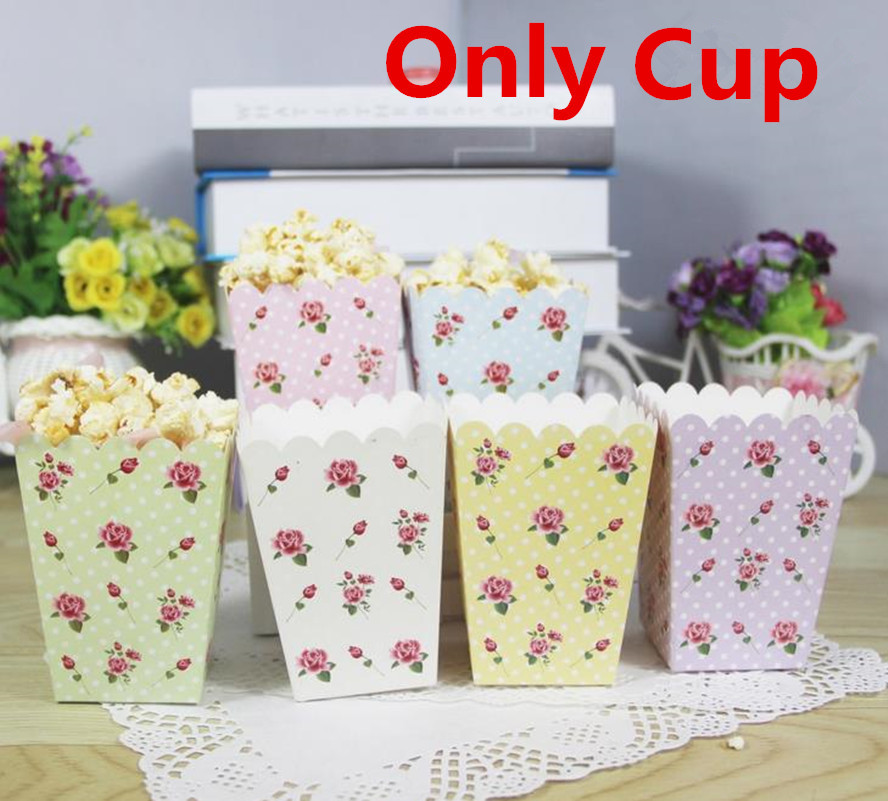 12 sztuk / partia Rose Flower Popcorn Box pudełko na papier dla party decoration baby birthday party supplies favor baby shower CP080