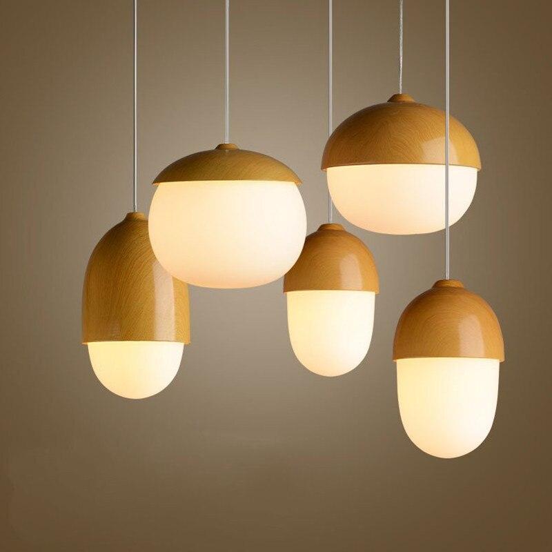 Lampes suspendues modernes lampara lampe à LED abat-jour en verre lampe pendante en bois salle à manger lumières pour éclairage de Bar de chambre à la maison