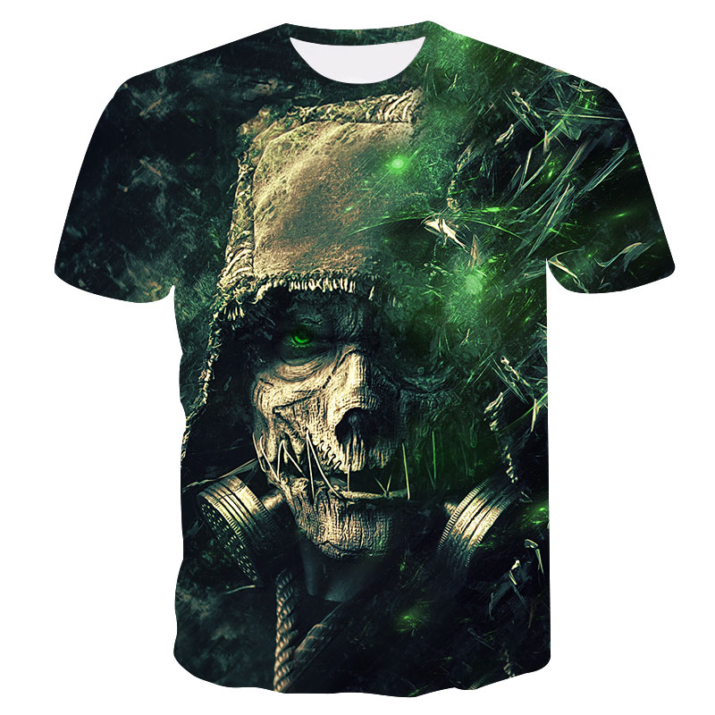 2018 New 3D Skull Messenger Cool Men's T-shirt Summer Quick-drying Casual Short-sleeved T-shirt Street Fashion Brand T-shirt