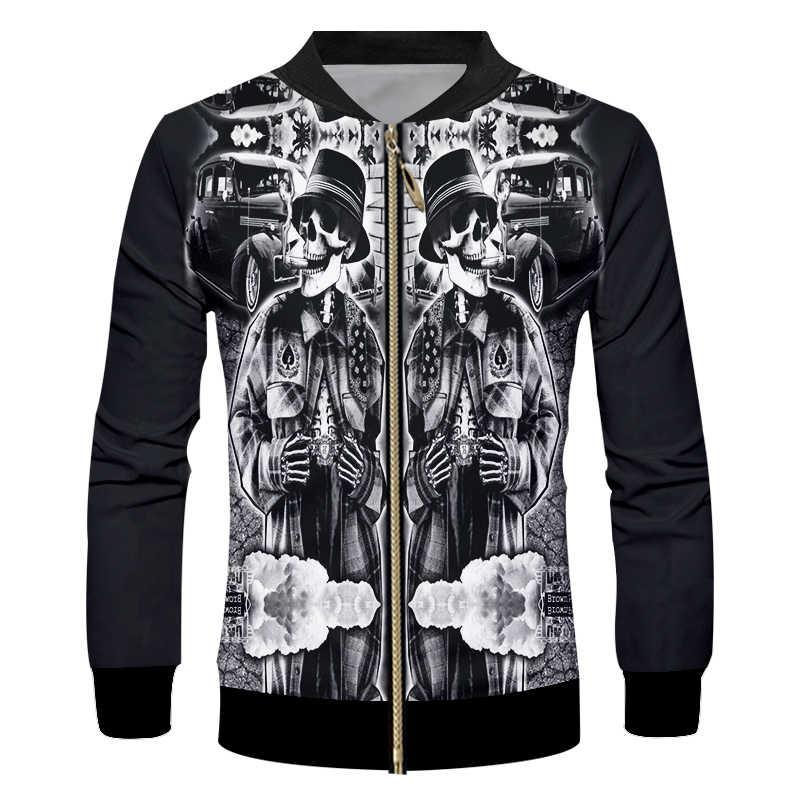 UJWI kurtka męska 2018 nowa 3D drukowana pół czaszki nowa odzież na co dzień moda hip-hopowa kurtka uliczna