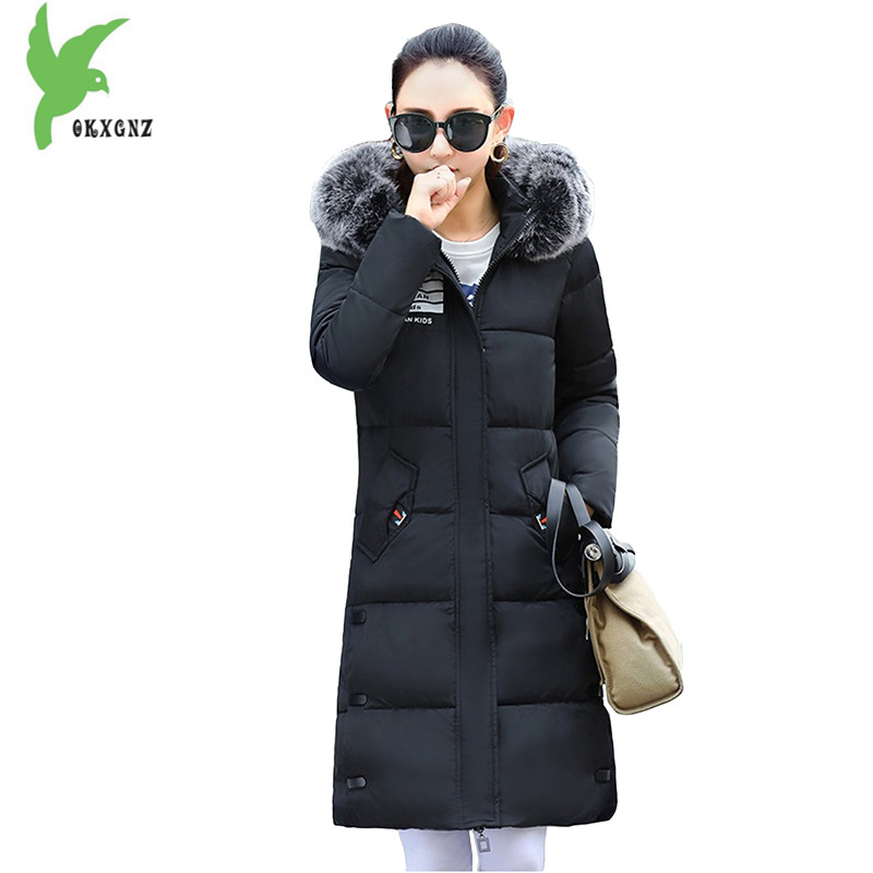 Down Cotton Long Jackets Autumn Winter Women New Fashion Hooded Fur Collar Warm Coat Plus size Casual Loose Outerwear OKXGNZ 981 new winter women cotton jackets solid color hooded long coat plus size fur collar thicker warm slim casual outerwear okxgnz a795