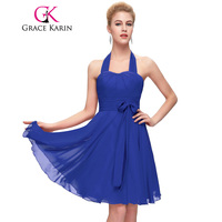 Popular Grace Karin Halter Short Prom Dresses 2016 Pink Red Blue Purple Elegant Sexy Party Dress