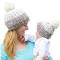 Мама и Ребенок Соответствия Вязаные Шапки Теплые Шапочки Шапки Зимние Дети Дети Мама Головные Уборы Шляпа Шапки Gorros Mujer Oc7