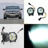 July King 18W 6LEDs H11 LED Fog Lamp Assembly Case For Acura ILX 2013 2016 6500K