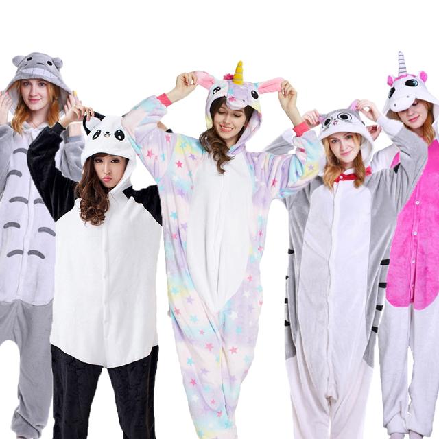 PSEEWE Unicorn Stitch Panda Unisex Flannel Pajamas Adults Anime Animal Onesies Winter Warm Sleepwear Hoodie For Women Men