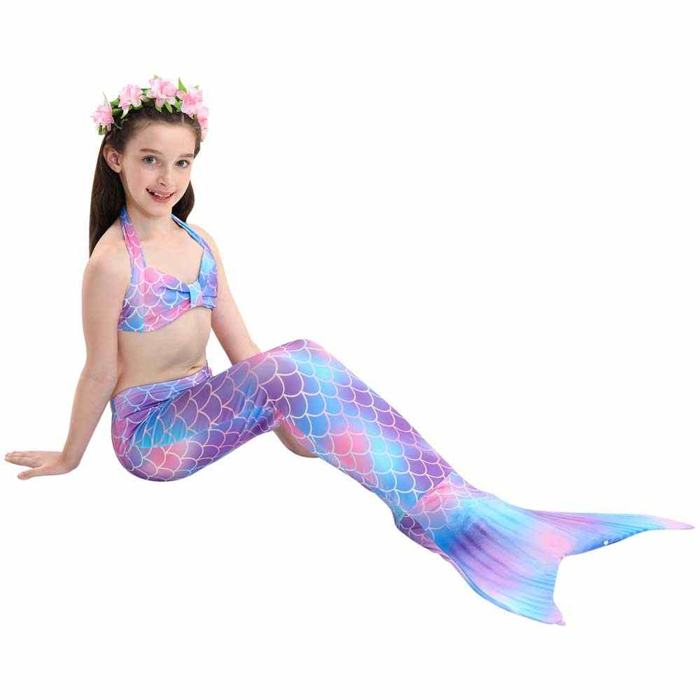 c3f4ee02a28d4 ... Girls Mermaid Tail For Swimming Cosplay Swimsuit Kid's Sparkle Mermaid  Tails Swimmable Costume Swimwear Sets With ...