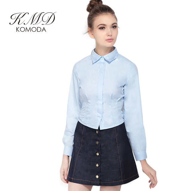 e7e39709fb1 KMD KOMODA Light Blue Blouse And Shirt Women Lapel Neck Belt Single  Breasted Long Sleeve Shirts Ladies Preppy Style Top Female