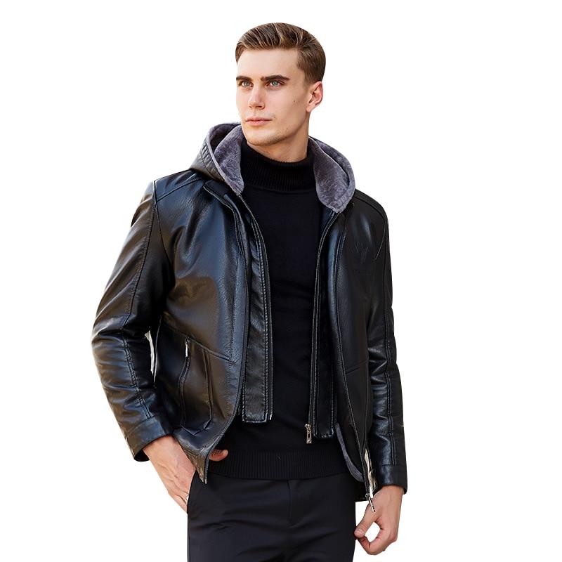 2019 Lelaki Lelaki Kulit Jacket Winter Fleece Lelaki Lembut PU Kulit - Pakaian lelaki - Foto 1