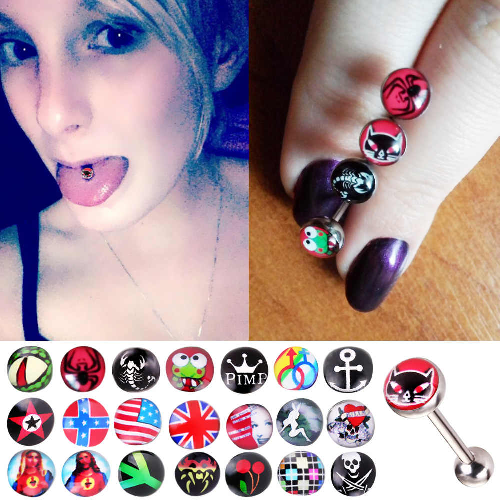 Stainless Steel Tongue Piercing for Women Sexy Logo Tongue Rings Funny Punk Girls Helix Piercings Barbell Body Jewelry SD090
