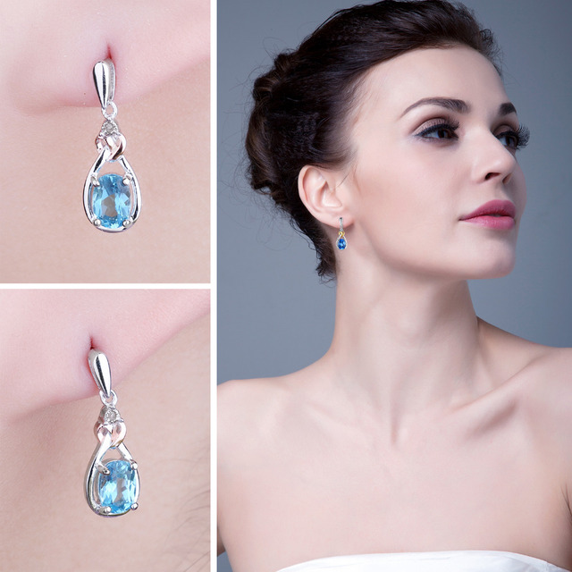 Natural Blue Topaz Diamond Earrings