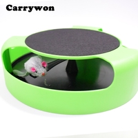 Carrywon Cat Moving Mouse Toys Cats Kitten Catch the Plush Rotating Toy Pet Motion Chase Scratch Board Plate Pet Accessories