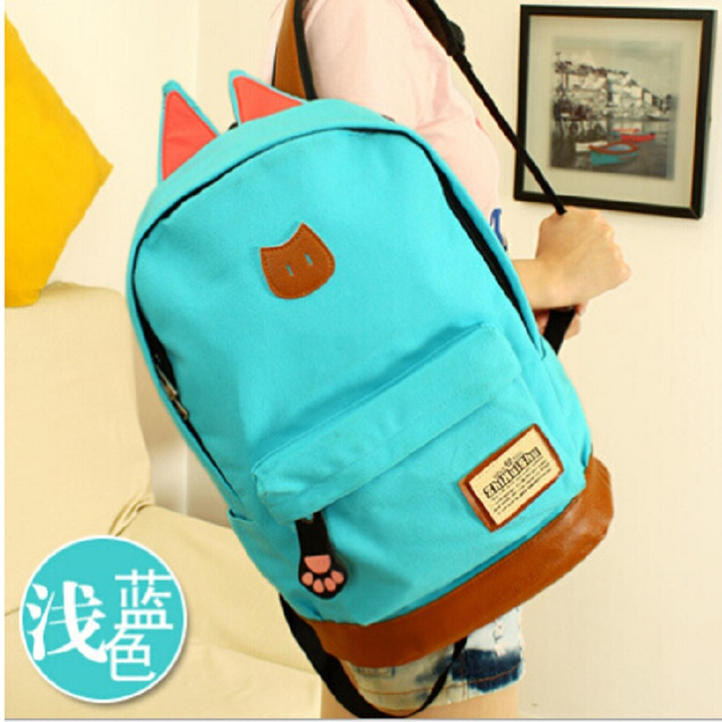 6134b9c718f5 2016 hot selling girls cat ears backpack Campus young women travel bag men  canvas backpack fashion school of brand bags
