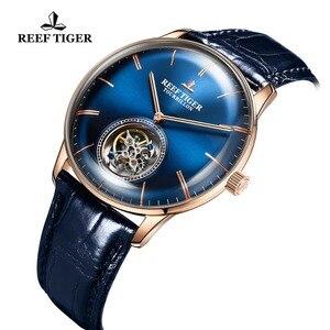 Image 5 - Reef Tiger/RT สีฟ้า Tourbillon นาฬิกาผู้ชายอัตโนมัติ Mechanical นาฬิกาข้อมือหนังแท้สายหนัง relogio ชาย RGA1930