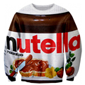 Alisister divertido mujeres hombres nutella clothing sudaderas novedad impreso pullover hoodies 3d harajuku sudaderas de chocolate comida