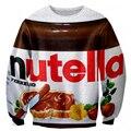 Alisister engraçado mulheres homens clothing impresso food chocolate nutella camisolas novidade bordado hoodies 3d harajuku camisas de suor