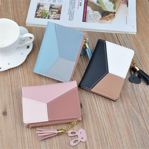 New Arrival Wallet Short Women Wallets Zipper Purse Patchwork Fashion Panelled Wallets Trendy Coin Purse Card Holder Leather(China)