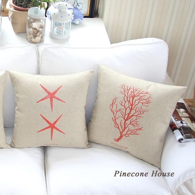Llano mar Fundas De Almohada decorativas de lino de algodón grueso ...