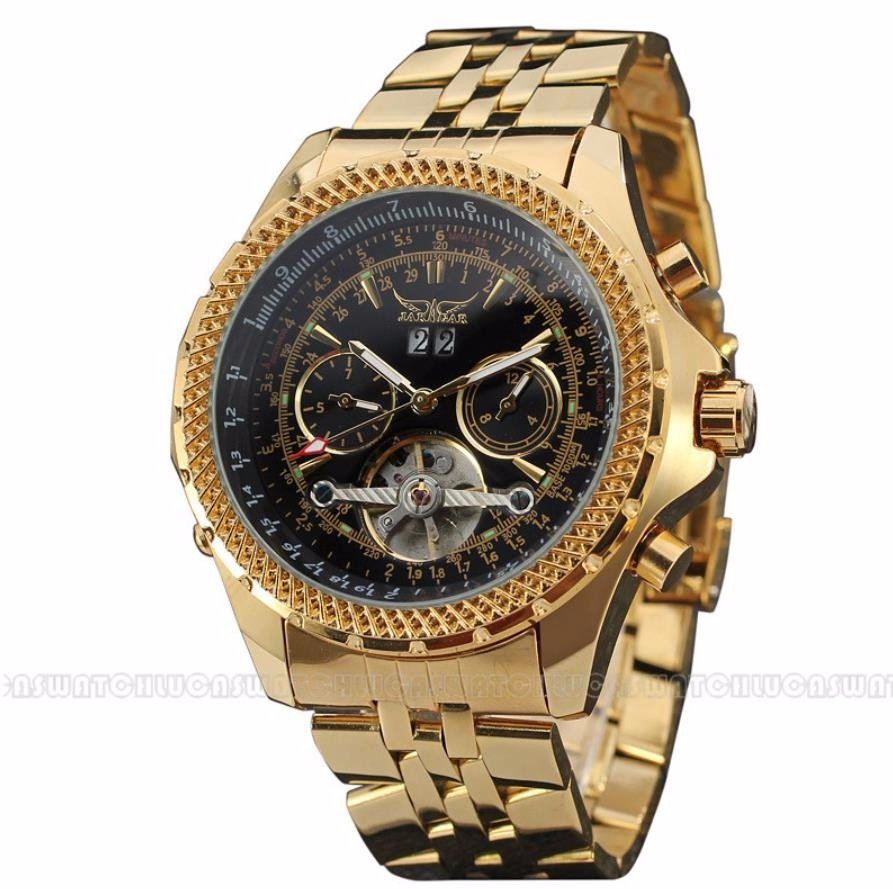 JARAGAR Tourbillon Auto Date Male Clock Mens Watches Golden Case Automatic Men Watch Mechanical Wristwatch Relogio Dourado forsining automatic tourbillon men watch roman numerals with diamonds mechanical watches relogio automatico masculino mens clock