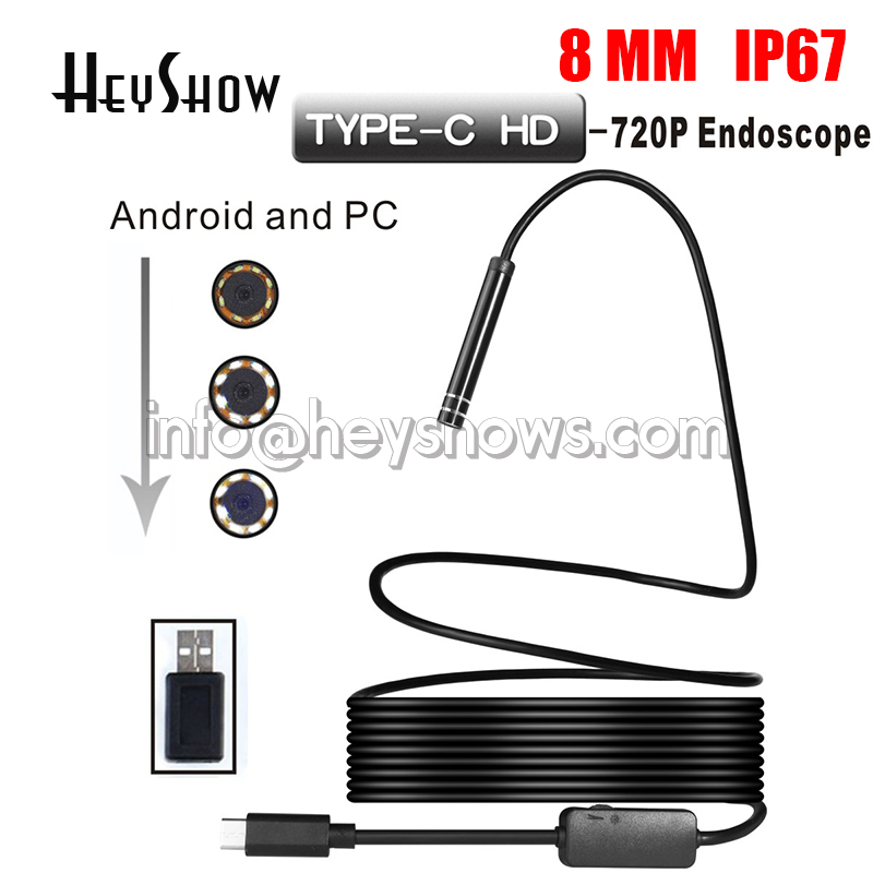 8mm 2MP 8LED 3M Android Phone USB Type C USB-C Endoscope Video Micro Cameras