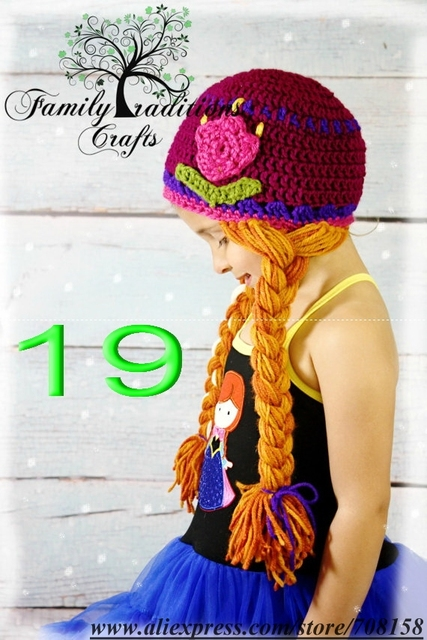 06a80cc3 free shipping,Princess Anna Inspire Hat,Princess Anna WIg Red Hair Pigtails  red Flower Beanie crochet hat , Elsa hat -stock