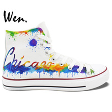 Wen Hand Painted Shoes Design Custom Sneakers Chicago City Skyline White High Top Men Women's Canvas Sneakers