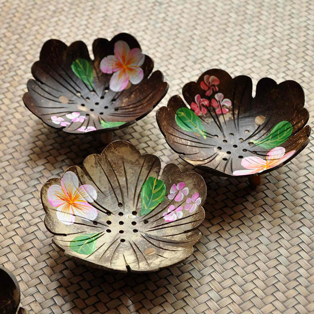 Thailand Imported Handmade Coconut Shell Crafts Painting Soap Box