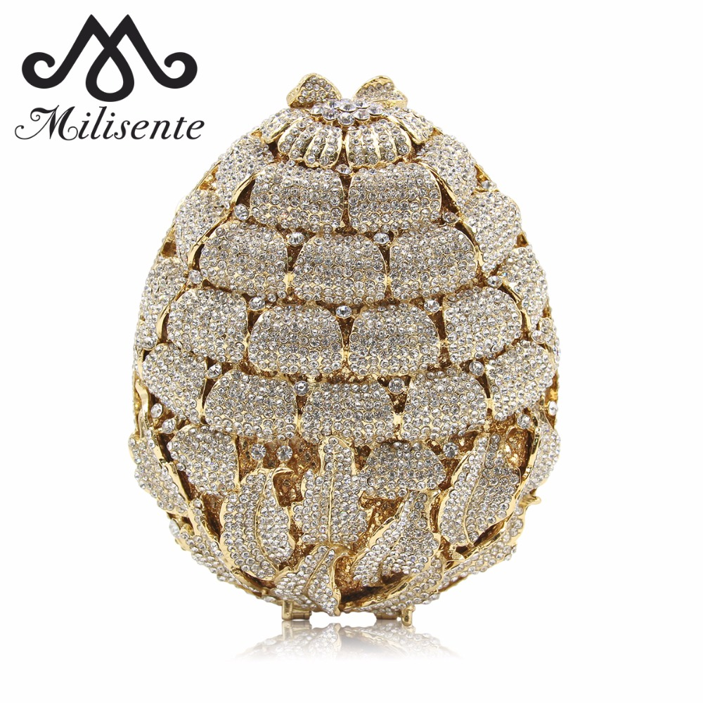 Milisente New Design Ladies Luxury Flower Crystal Evening Bags Women Wedding Clutches Purses Girls Day Clutch Party Bag 2017 new women day clutches bag luxury diamonds bride wedding party dinner bag handbag ladies evening bags handbags purses bolsa