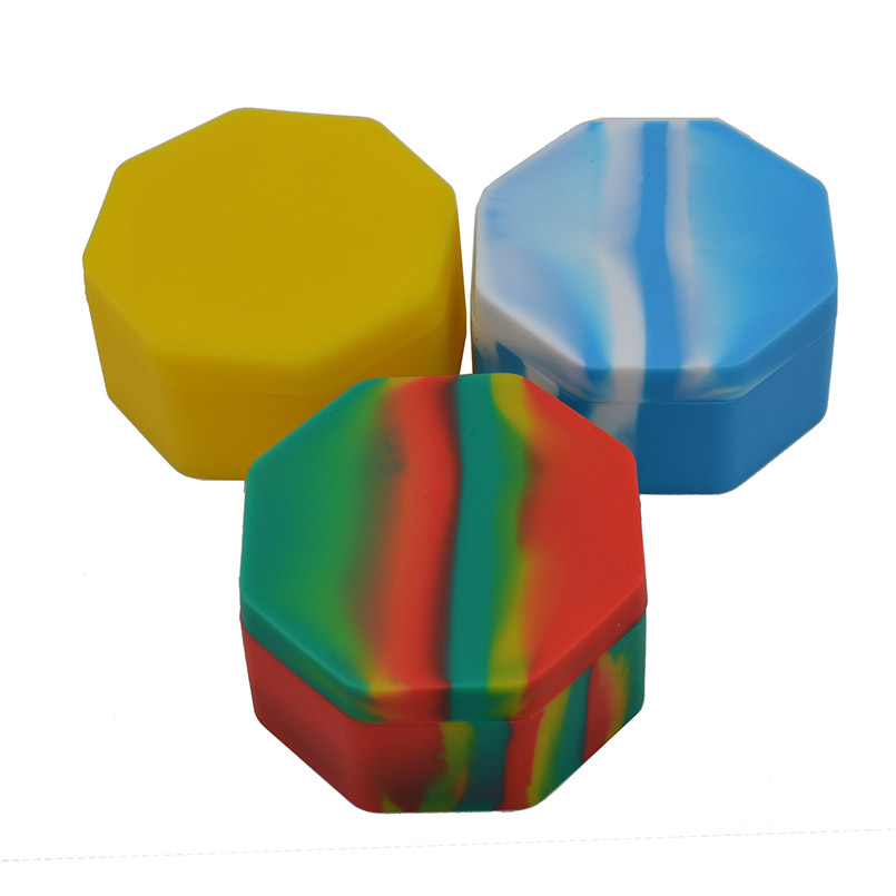 10pcs Silicone Octagon Wax butane Oil Container 110ml or silicone wax concentrate jar and Bho Non
