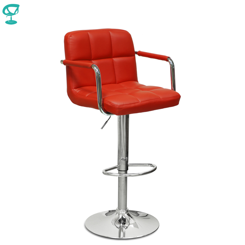 94385 Barneo N-69 Leather Kitchen Breakfast Bar Stool Swivel Bar Chair Red Color Free Shipping In Russia