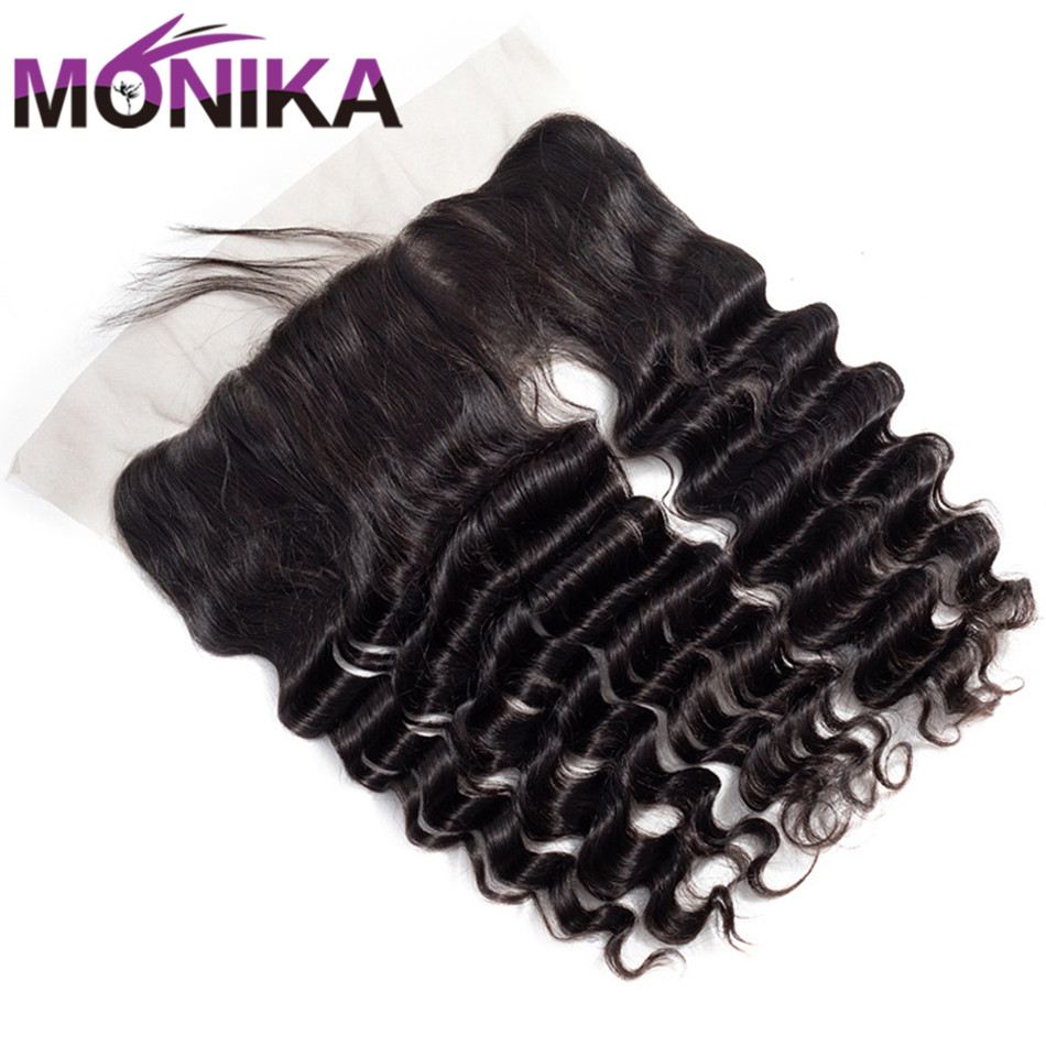 Monika Hair 13x4 Ear To Ear Lace Frontal Closure With Baby Hair Indian Loose Deep 8-20 inch Non Remy Human Hair free shipping