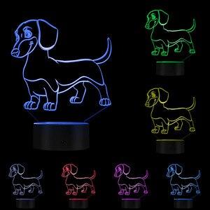 Image 5 - Salsiccia Bassotto Cane di Kid Camera Luce di Notte Lampada Da Tavolo Wiener Domestico Del Cane del Cucciolo Incandescente LED Optical Illusion Lampada Decorativa illuminazione