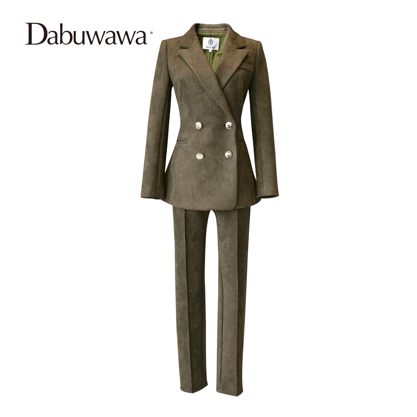 Dabuwawa Army Green Long Sleeve Suede Women Suits Blazer Suit Set Casual Vintage Two Pieces Set Women ...