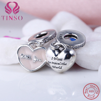 Hot New Arrival Travel With You Fit Pandora 925 Sterling Silver Pendant Beads Charms Bracelet For