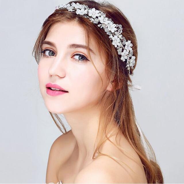 Handmade Wedding hair accessories vintage tiaras silver flower bridal  headbands crystal prom hair jewelry headpiece 0e8c886de41