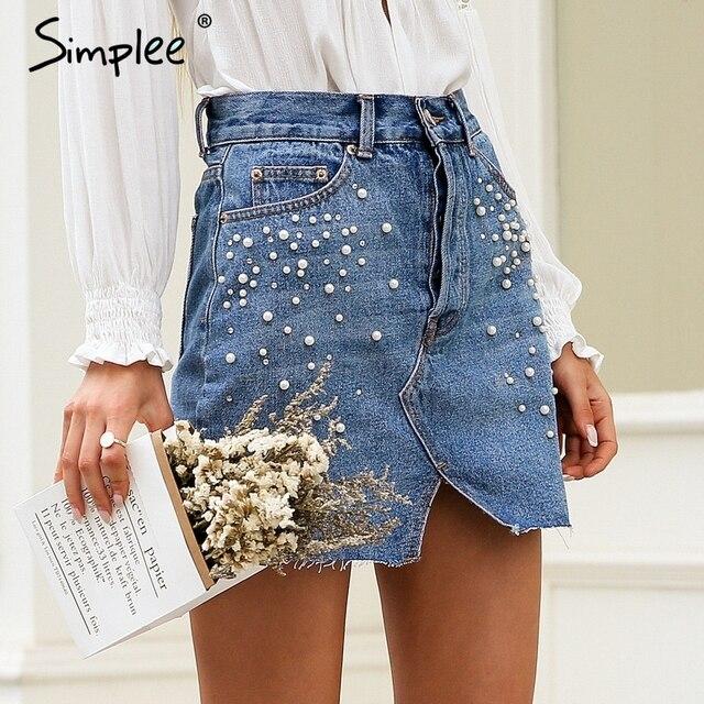 Simplee décontracté split perles denim jupes femmes bouton skinny diamant mini jupe 2018 Streetwear chic coréen été jeans jupe