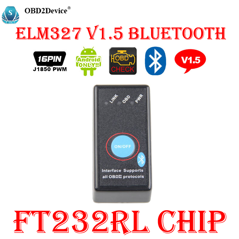Top Qualité Mini ELM327 Bluetooth V1.5 FT232RL Puce ELM 327 OBD2 Outil De Diagnostic OBD 2 Scanner Automobile Outil De Diagnostic