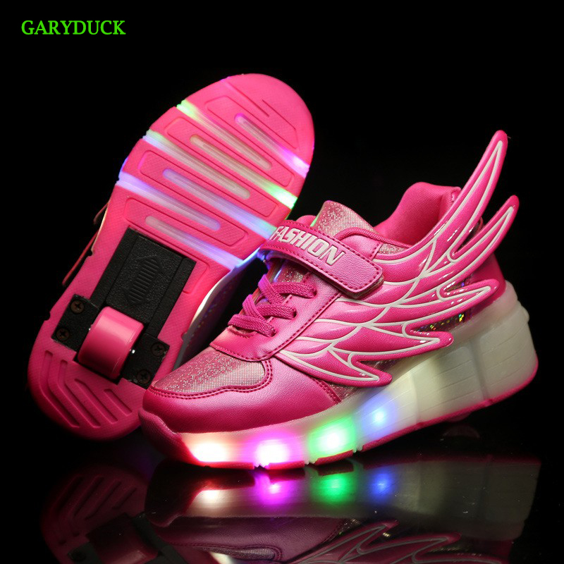 GARYDUCK NEW 2017 Children roller shoes angnl wings boys&girls luminous sneaker children LED Shoes kids led lighting Kids shoes children roller sneaker with one wheel led lighted flashing roller skates kids boy girl shoes zapatillas con ruedas