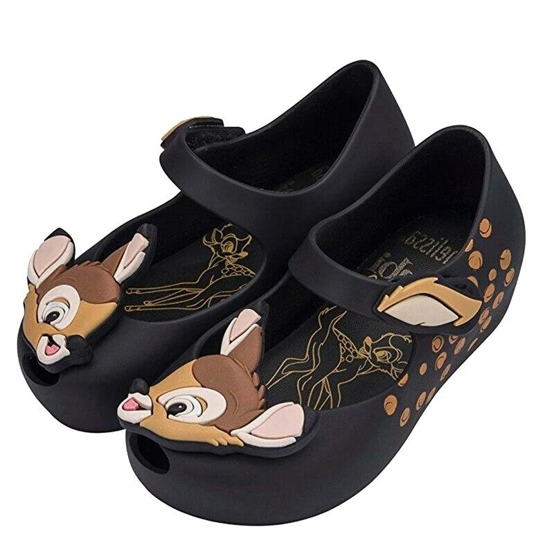hot Mini Melissa 2018 New Design Cartoon deer Jelly Shoes Children Girls Sandals Fish Mouth Girl Non-slip Kids Sandal