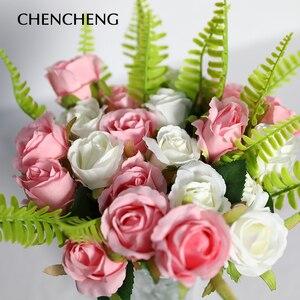 Image 2 - CHENCHENG ramo de flores artificiales rosas, 12 unidades por lote, boda, flor de seda Artificial, fiesta, hogar, Decoración, regalo de San Valentín