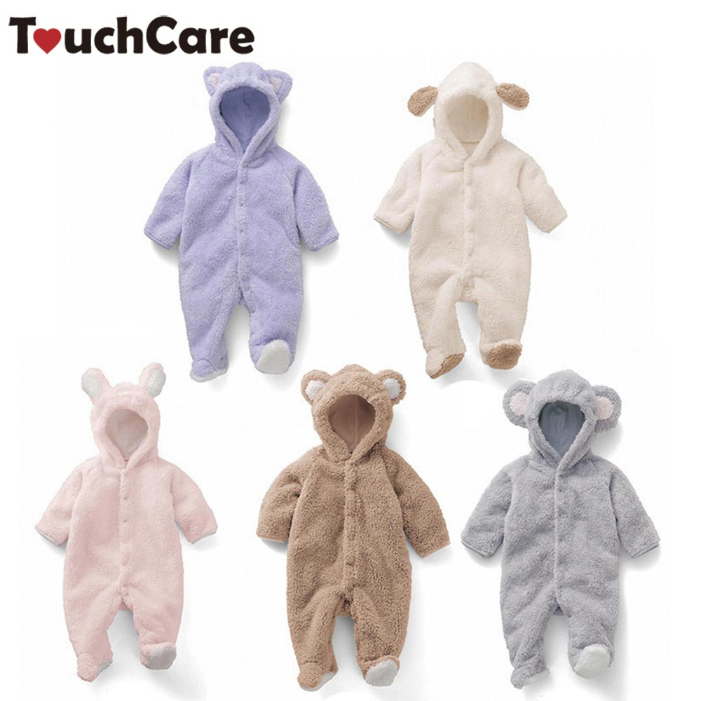 где купить TouchCare Winter Warm Coral Fleece Cute Bear Infant Baby Romper Cartoon Ducky Jumpsuit Boys Girls Animal Overall Menino Menina по лучшей цене