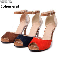 Lady's Rome Sexy Hot Sandals Buckle strap Fahion Wood Texture Peep Toe Women Pumps Plus Size 11 12 Flock Thin High heels Shoes