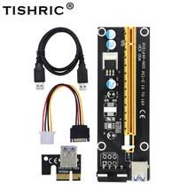 10 pces tishric pci-e extensor pci express riser cartão 1x a 16x60 cm usb 3.0 cabo sata para 4pin molex power para máquina de mineiro btc